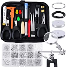 PP OPOUNT 22 Pieces Jewelry Making Kit with Jewelry Wires Magnifier Stand and 1275 Pieces Jewelry Findings for Jewelry Crafting and Jewelry Repairing