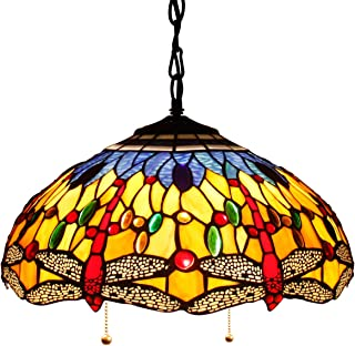 16P Tiffany Pendant Lamp Crystal Bead Dragonfly 16 Inch Sea Blue Stained Glass Shade for Dinner Room Hanging 2 Light (S168 Series)
