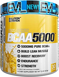 Evlution Nutrition BCAA5000 Powder 5 Grams of Branched Chain Amino Acids (BCAAs) Essential for Performance, Recovery, Endurance, Muscle Building, Keto Friendly, Zero Sugar, 30 Servings, Pineapple