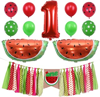 ONINIT Watermelon Baby Boy Girls 1st Birthday Party Decorations,One in Melon Best for Summer Picnic First Birthday Party Photo Props, High Chair Banner Foil Balloon and Latex Balloons