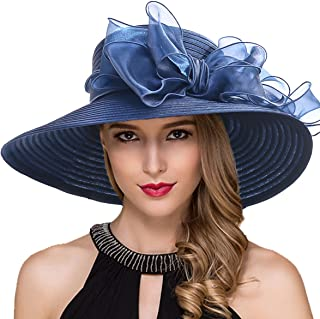 Women Kentucky Derby Church Dress Cloche Hat Fascinator Floral Tea Party Wedding Bucket Hat S052