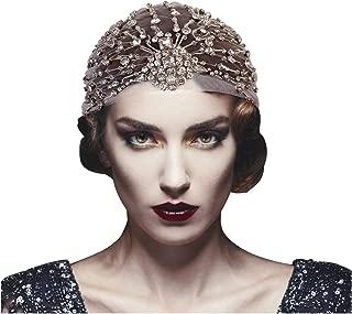 L'VOW Women's Vintage 1920s Headpiece Roaring 20s Crystal Tulle Belly Gatsby Flapper headband Turban Wrap (Type C)