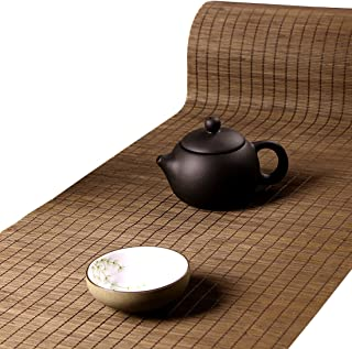 Tea Talent Handmade Natural Bamboo Sticks Tablemat Decor Kungfu Tea Set Slat Mat Placemat Tea Table Runner 12 By 47-inch, Coffee