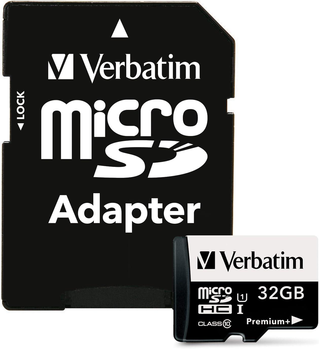 Verbatim 32GB PremiumPlus 533X microSDHC Memory Card with Adapter, UHS-I Class 10, 98741
