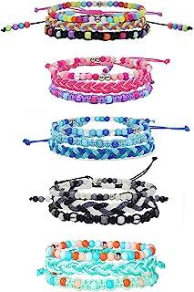 دستبندهای GASHINA برای دختران نوجوان ، 15 عدد دستبند دوستانه VSCO بافته شده مهره ای دوستانه قابل تنظیم