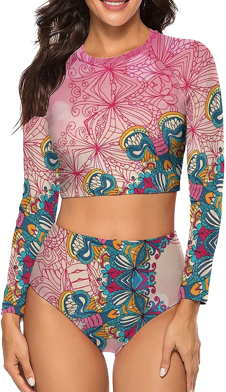 Tvsuh-u Womens Bathing Suit 2 PCS Pink Circles Long Sleeve Rash Guard Swimsuits