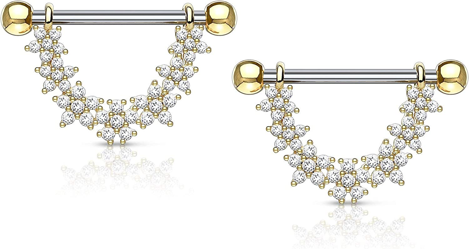 Forbidden Body Jewelry Pair of Surgical Steel 9/16 Inch (14mm) CZ Flower Daisy Chain Dangle Nipple Barbells