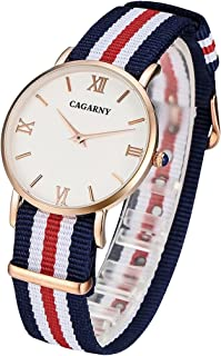 Lanbinxiang@ 6813 Creative Fashionable Ultra Thin Rose Gold Case Quartz Wrist Watch with 5 Stripes Nylon Band for Women Fashion (Color : Red)