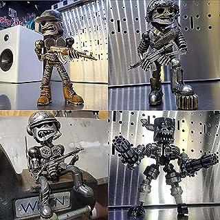 2021 Various Styles Recycling/Scrap Metal Standing Warrior Sculptur - 1/4Pcs Cool Machine Gunner Crafts, Resin Handmade-Pi...