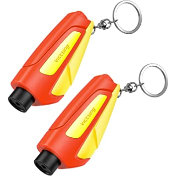 VicTsing Family Pack of 2, The Emergency Keychain Car Escape Tool, 2-in-1 Seatbelt Cutter and Window Breaker for Land & Underwater, Portable Car Safety Hammer Life Saving Survival Kit