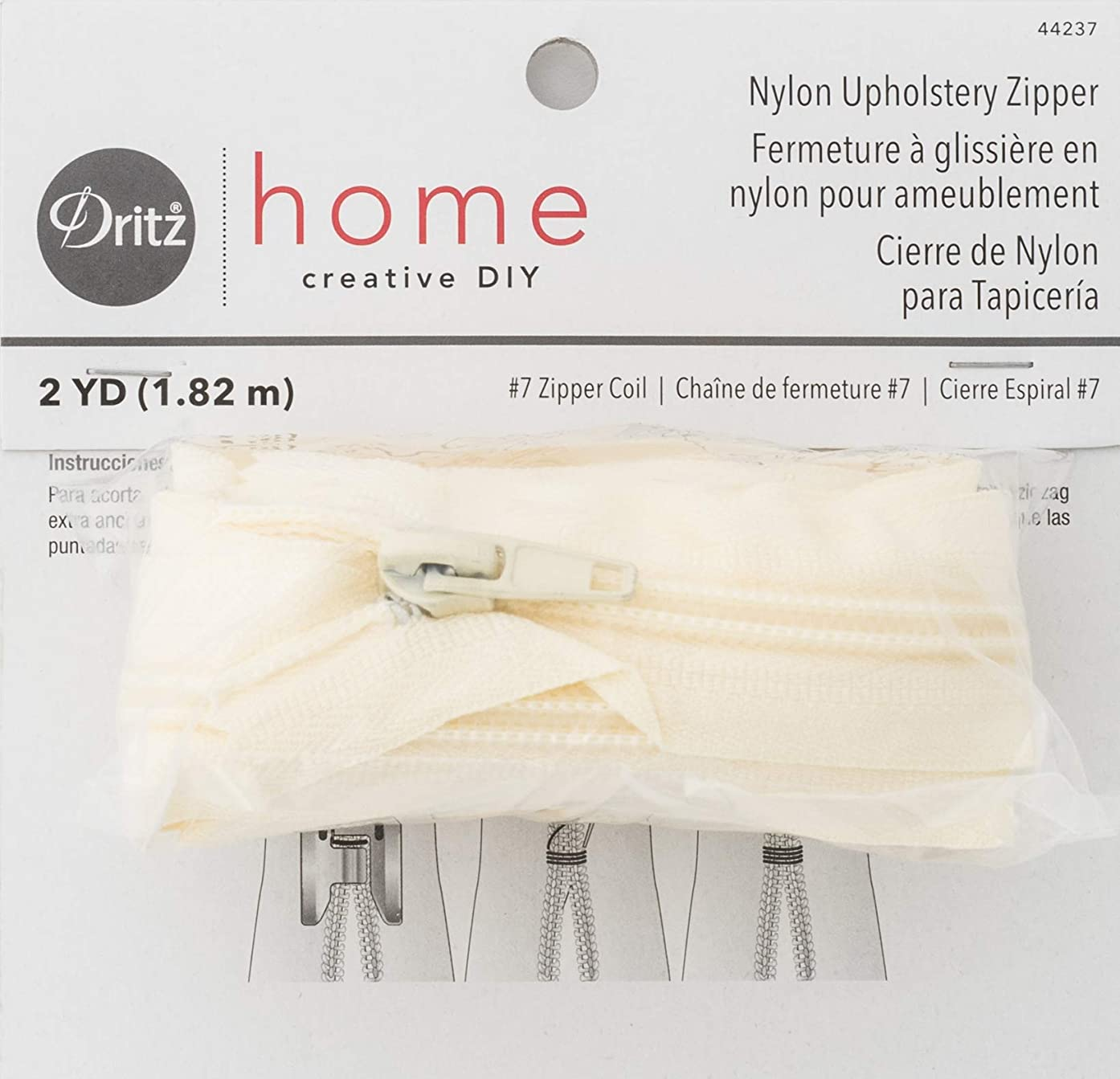 Dritz Home 44237 Nylon Upholstery Zipper, 72-Inch, Cream
