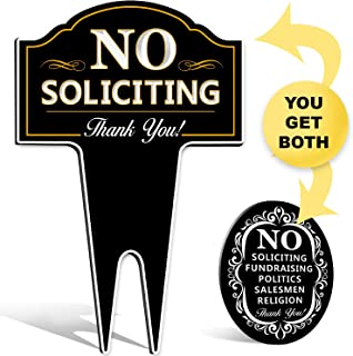 No Soliciting Sign Bundle for Home Yard/House Lawn Also Great for Businesses | Plus Oval Stylish Laser Cut | Made with Heavy Duty DiBond Aluminum. Stop Solicitation (Bundle)