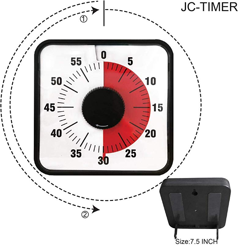Sports Timers With Buzzer Countdown Magnetic Kitchen Timer Square Clock Loud Ticking Timer Classroom Clock Visual Timer Kids Timer Mechanical Baking Tools 60 Minutes