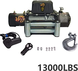 VioletLisa Universal Steel Rope 13000LB 12V 265/1 Gear RatioElectric Recovery Winch Wireless Remote Control 4-Way Roller Fairlead for Pickup Truck 4WD JEEP SUV Van Train Boat Trailer