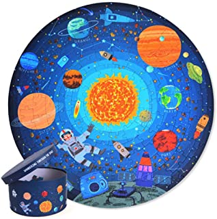 Space Theme Jigsaw Puzzle, 150Pcs Exploring Space Solar System Floor Puzzles with Box Educational Science Toy for Kids Age...