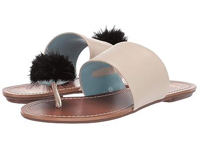 Frances Valentine Clementine Slide Sandal (Oyster/Black Shiny Nappa) Women