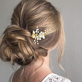 Feality Bride Wedding Crystal Hair Pins Clips Flower Hair Piece Bridal Hair Accessories for Women and Girls Pack of 2 (Gold)