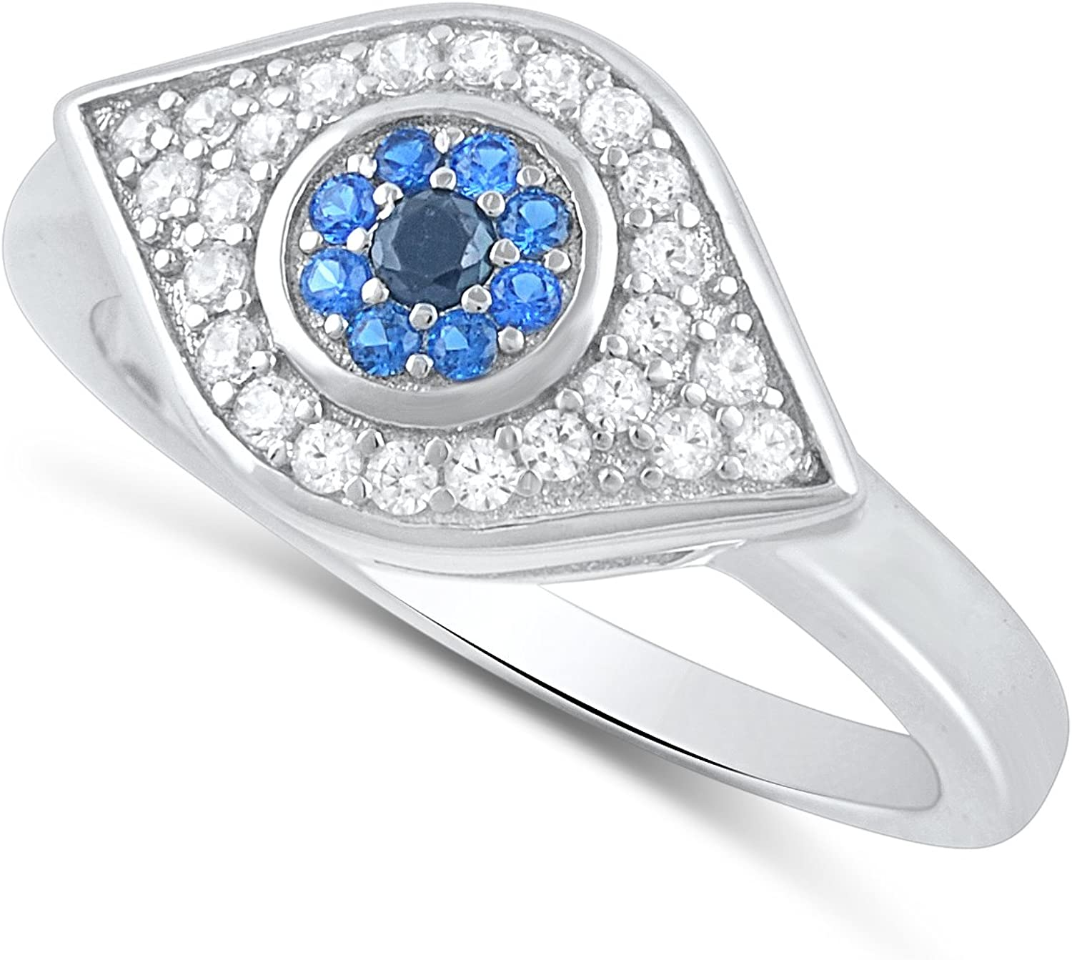 Sterling Silver Blue Cz Evil - eye Topics on TV Ring Sales Size 6