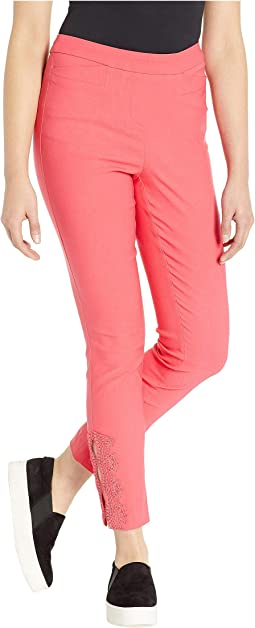Stretch Bengaline Flatten It Pull-On Ankle Pants w/ Lace Detail