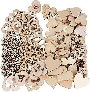 JNCH 400 STK / 4 Größen Holzscheiben Deko zum Basteln Holz Scheiben Herz klein Holzherz Dekoration Streudeko Tischdeko Verzierungen für DIY Handwerk Hochzeit Weihnachten Geburtstag Taufe Herzen