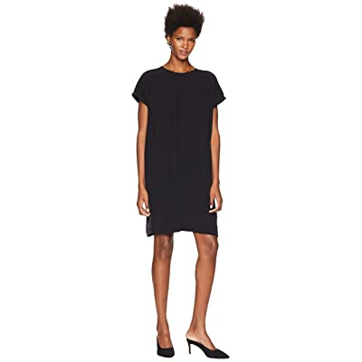 Eileen Fisher Silk Crepe Back Satin Round Neck Short Sleeve Wedge Dress (Black) Women