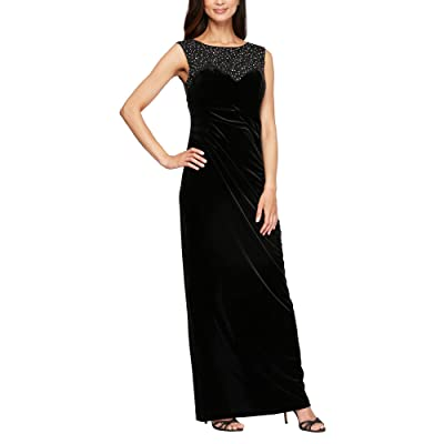 Alex Evenings Long Sleeveless Column Dress with Embroidered and Embellished Illusion Neckline (Black) Women
