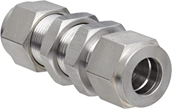 Brennan N2700-LN-06-06-SS Stainless Steel Compression Tube Fitting, Bulkhead Union, 3/8