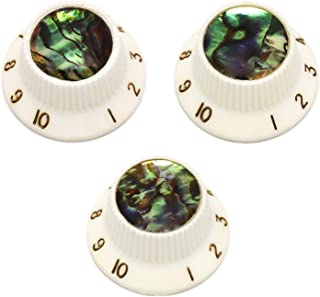 Holmer Guitar Knobs Abalone Top Speed Control Knobs 6mm Shaft Pots Volumn Tone Knobs Compatiable with Strat Stratocaster Electric Guitar Set of 3Pcs.