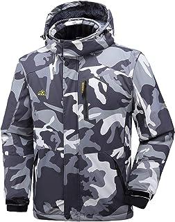 CIOR Men's Mountain Waterproof Ski Jacket II Windproof Rain Jacket Winter Warm Snow Coat with Removable Hood