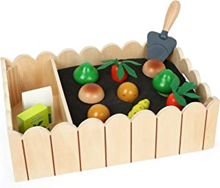 Small Foot 12011 Gemüsegarten aus Holz, med Möhren, Pilzen, Kartoffeln, Broccoli, Samen und Schaufel, ab 3 Jahren Toy, fle...
