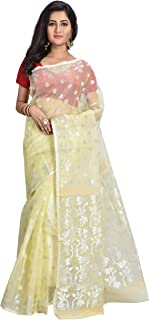 Ruprekha Fashion Women's Creme Colour Art Silk Muslin Handloom Saree from Bengal