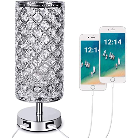 Crystal Touch Table Lamp with 2 Dual Fast USB Charging Ports,E27 Bulb Included Dimmable Brightness Crystal Bedside Table Light Lampshade Decorative Bedroom,Living Room,Guest Room,Table