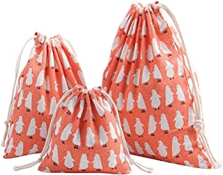 Flowertree Pack of 3 Sizes Burlap Cloth Drawstring Pouch Storage Bags (Orange Penguin)
