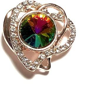 Snap Jewelry Rose God Heart Rainbow Rhinestone 18-20mm