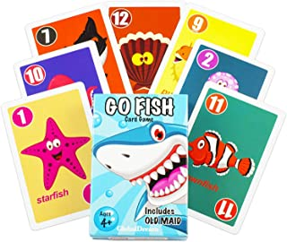 GlobalDream Go Fish Card Game for Kids - Go Fish and Old Maid - Colorful Design - Great for Children Ages 4-8