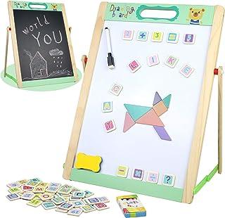 Chevalet Bois Enfant Double Face Jouet Tableau avec Alphabet Chiffre Magnetiques Puzzle Tableau Noir et Blanc sur Pied Che...