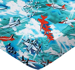 SheetWorld 100% Cotton Percale Fitted Crib Toddler Sheet 28 x 52, Fighter Jets, Made in USA