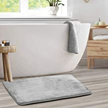 Memory Foam Bathrug - Light Gray Bath Mat and Shower Rug Large 20 x 32 Inches Non Slip Latex Free Plush Microfiber. Comfor...