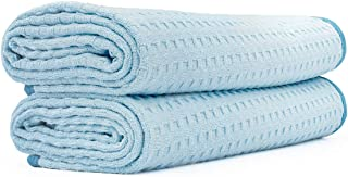 The Rag Company (2-Pack) Dry Me A River Professional Korean 70/30 Microfiber Waffle-Weave Drying & Detailing Towels (20x40, Light Blue)
