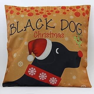 Petite Lili Cushion Cover with Christmas Santa Hat Design Decorative Pillowcase-Bed/Kids/Sofa 18 x 18 inch, (Black,Yellow Dog)