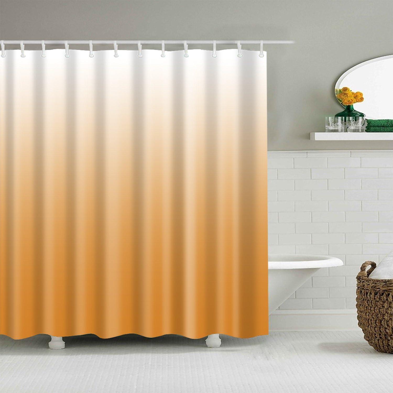 Orange Shower Curtain Gradual Very popular Color Design Las Vegas Mall 12 Hooks with Fabric