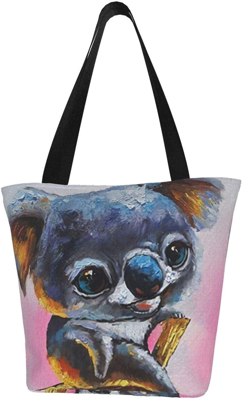 Small Baby Koala Paints Cute Themed Printed Women Canvas Handbag Zipper Shoulder Bag Work Booksbag Tote Purse Leisure Hobo Bag For Shopping