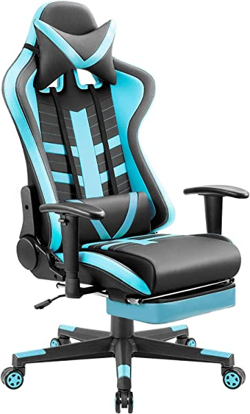 Homall Gaming Chair Ergonomic High Back Racing Chair Pu Leather Bucket Seat Computer Swivel Office Chair Headrest And Lumbar Support Executive Desk Chair With Footrest Black Blue