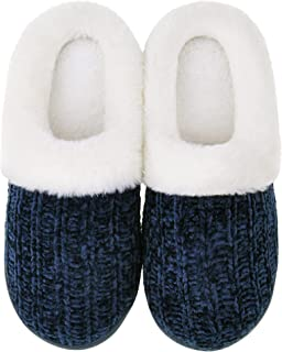 Women's Cozy Memory Foam Slippers Fuzzy Plush Lined House Shoes Indoor Outdoor Slippers
