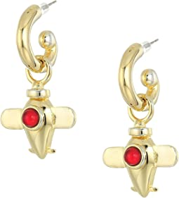 Kenneth Jay Lane Center Airplane Charm Drop Pierced Earrings