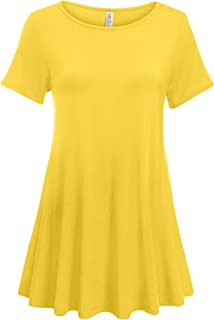 65b9f5524dc Simlu Womens Short Sleeve Tunic Tops Plus Size and Reg Tunic Shirt for  Leggings - Made