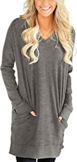 Womens Casual Long Sleeves Solid V-Neck Tunics Shirt Tops with Pockets