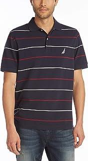 Nautica Men's Classic Fit Short Sleeve 100% Cotton Pique Stripe Polo Shirt