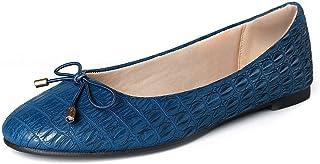WFL جولة اصبع القدم النساء شقق الانزلاق على أحذية الباليه المسطحة لينة, (ازرق), 37 EU