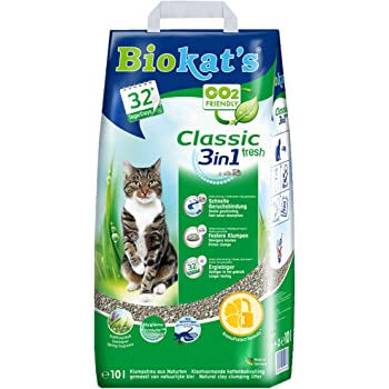 Biokat S Classic Fresh 3in1 With Fragrance Clumping Cat Litter With 3 Different Grain Sizes 1 Bag 1 X 10 L Amazon Co Uk Pet Supplies